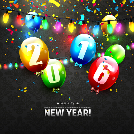 sylvester: Happy New Year 2016 - greeting card with colorful balloons and lights on black background Illustration