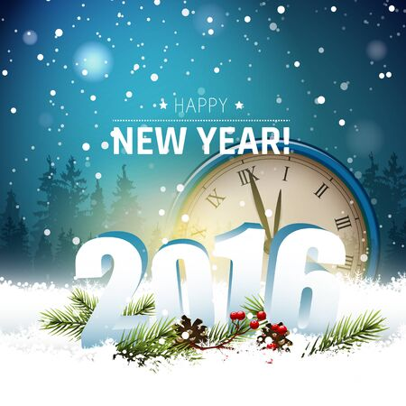 sylvester: Old clocks and 3D numbers in the snow - Happy New Year 2016