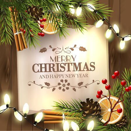 snowfalls: Christmas greeting card with lights and traditional decorations on wooden background Illustration