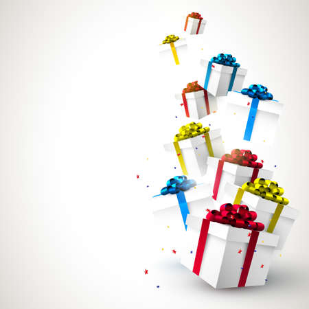 gift boxes: Colorful Christmas gift boxes and confetti