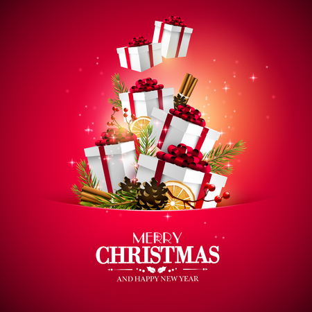 Christmas greeting card with traditional decorations and gift boxes flying out of the pocket