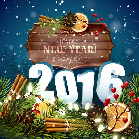 family outside: Happy New Year 2016 - traditional decorations, 3D numbers and wooden sign with calligraphic inscription on blue background