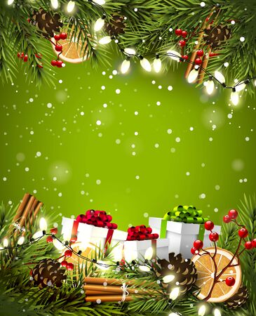 snowfalls: Christmas background with traditional decorations and gift boxes on green background Illustration