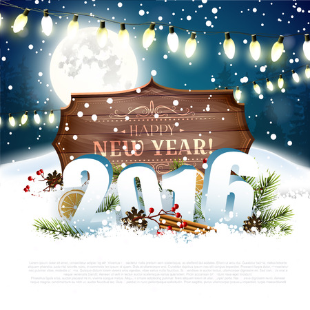 family outside: Happy New Year 2016 - traditional decorations, 3D numbers and wooden sign with calligraphic inscription at night Illustration
