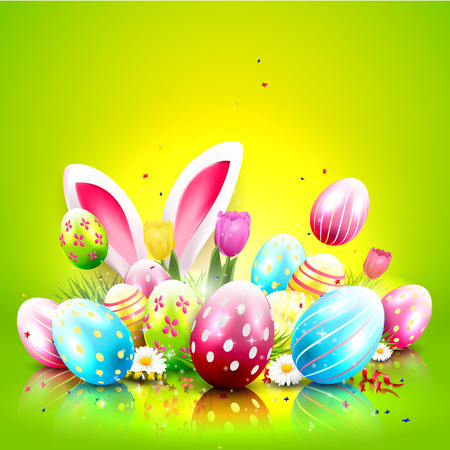 Easter greeting card with colorful eggs and bunny ears on green background