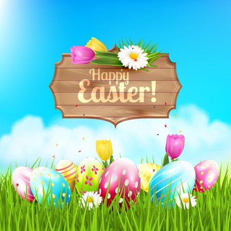 tulips in green grass: Easter greeting card with wooden sign and colorful eggs and flowers in the grass