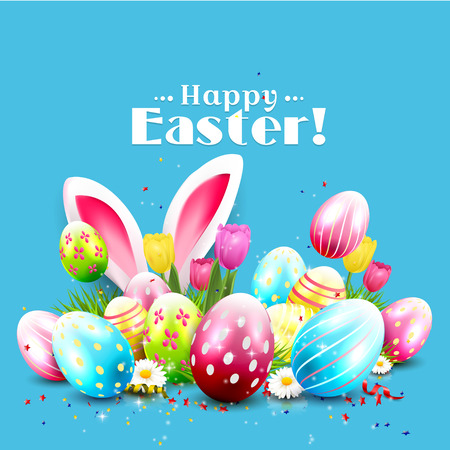 greeting card background: Easter greeting card with colorful eggs and bunny ears on blue background