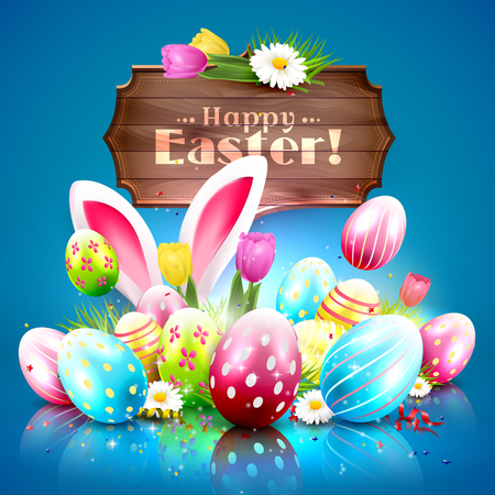 Easter greeting card with colorful eggs and wooden sign on blue background