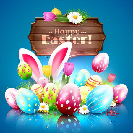 Pasen-groetkaart met kleurrijke eieren en houten teken op blauwe achtergrond Stockfoto - 51904427