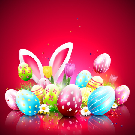 Easter greeting card with colorful eggs and bunny ears on red background