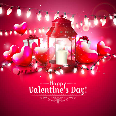 Valentines day greeting card with glossy hearts,lantern and gift boxes on red background