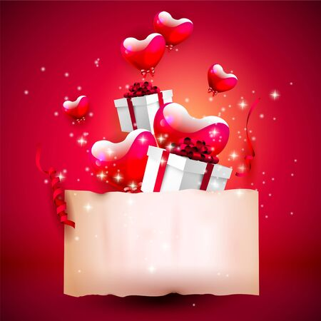 creative beauty: Valentines day background with glossy hearts, gift boxes and empty paper on red background