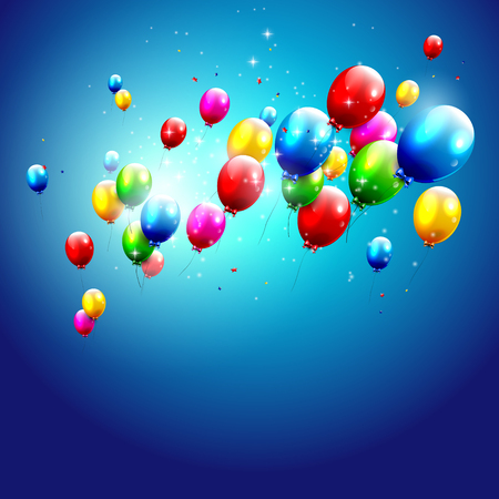 welcoming party: Colorful balloons on blue background Illustration