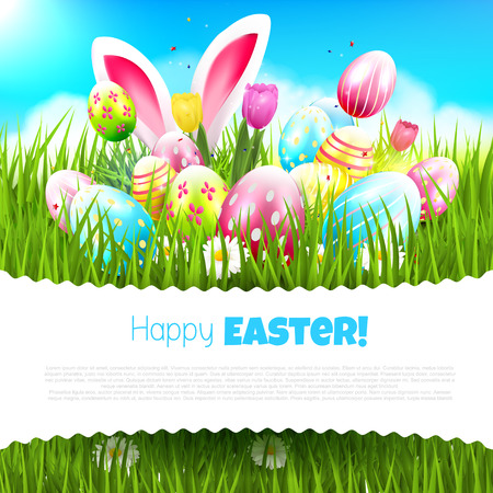 tulips in green grass: Easter greeting card with colorful eggs and bunny ears in the grass