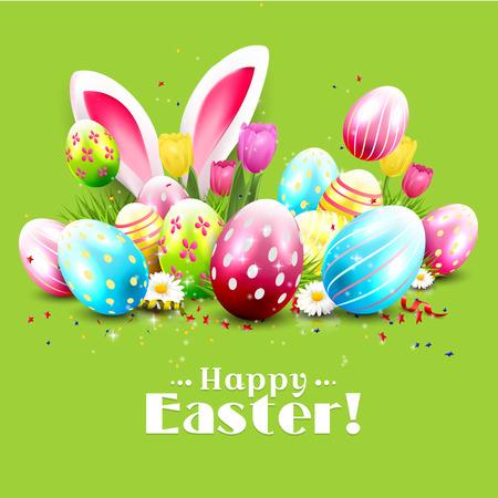 Ostern Grußkarte mit bunten Eiern und Hasen Ohren auf grünem Hintergrund Standard-Bild - 51904444