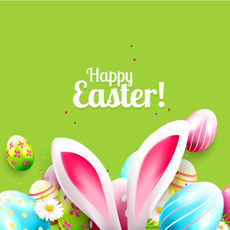 modern background: Easter greeting card with colorful eggs and bunny ears on green background
