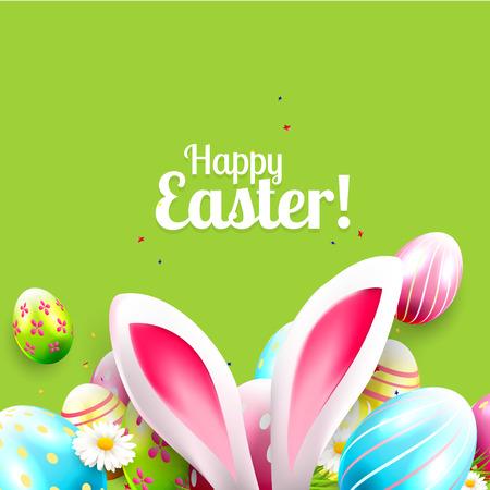 huevo: tarjeta de felicitación de Pascua con huevos de colores y orejas de conejo sobre fondo verde