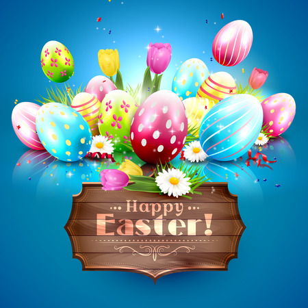 sweet grass: Easter greeting card with colorful eggs and wooden sign on blue background