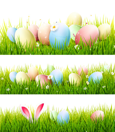 Vector set of three Easter borders with colorful eggs and bunny ears in the grass Çizim