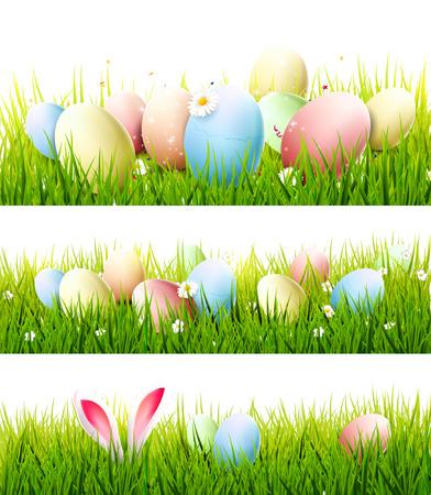 Wektor zestaw trzech granic Wielkanoc z kolorowych jaj i uszy królika na trawie