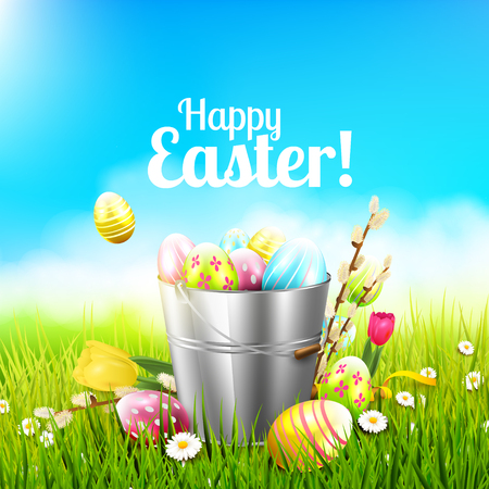sweet grass: Easter greeting card with flowers and colorful eggs in the bucket