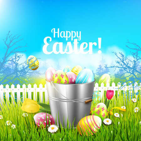 tulips in green grass: Easter greeting card with flowers and colorful eggs in the bucket