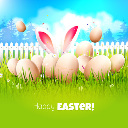 animal ear: Easter greeting card with eggs and bunny ears in the grass