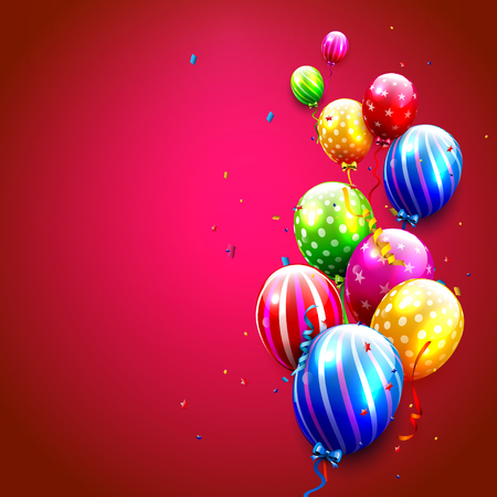 red balloons: Birthday card with colorful balloons and confetti on red background Illustration