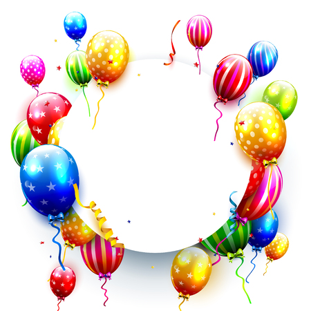decorate: Birthday card with colorful balloons and confetti on white background