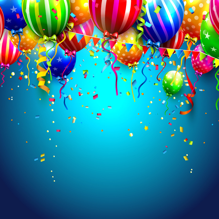 an anniversary: Birthday card with colorful balloons and confetti on blue background