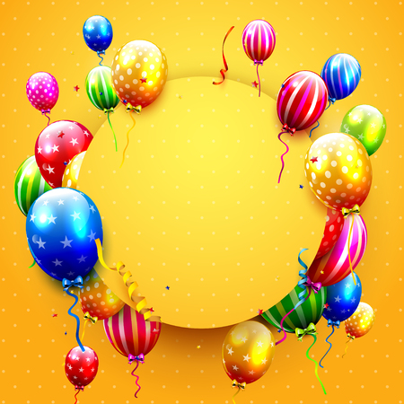 Birthday card with colorful balloons and confetti on orange background