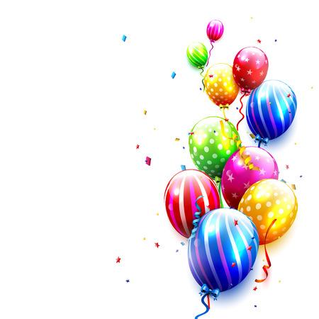 Fondo de cumpleaños con globos de colores y confeti sobre fondo blanco