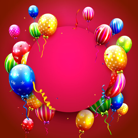welcoming party: Birthday card with colorful balloons and confetti on red background Illustration