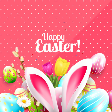 Easter greeting card with colorful eggs and bunny ears on pink background