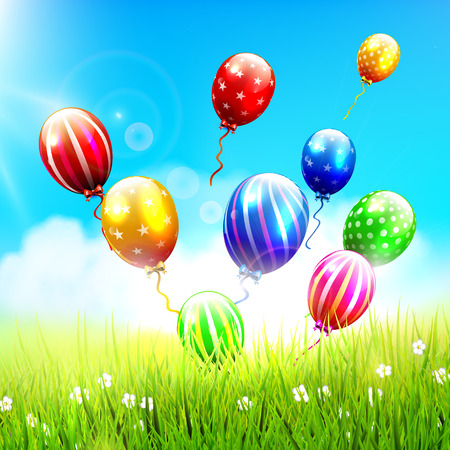 welcoming party: Celebration background with colorful balloons in sunny landscape Illustration