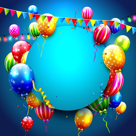 aniversario: Birthday card with colorful balloons and confetti on blue background