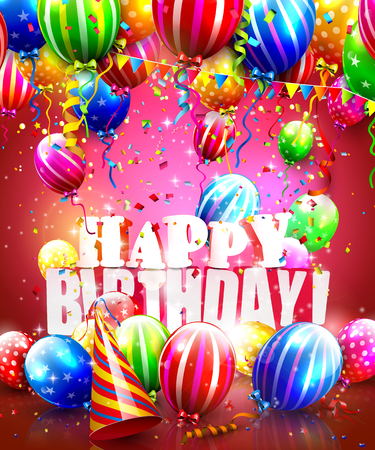 welcoming party: Happy birthday poster with colorful balloons, confetti and party hat Illustration