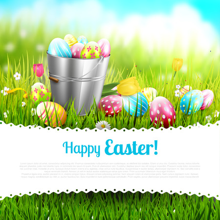 tulips in green grass: Easter greeting card with flowers and colorful eggs in the bucket and place for your text Illustration