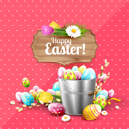 wooden bucket: Easter greeting card with flowers and colorful eggs in the bucket and wooden sign on pink background