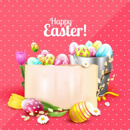 metal spring: Easter greeting card with flowers, colorful eggs in the bucket and empty paper on pink background Illustration