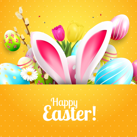 Easter greeting card with colorful eggs and bunny ears on orange background