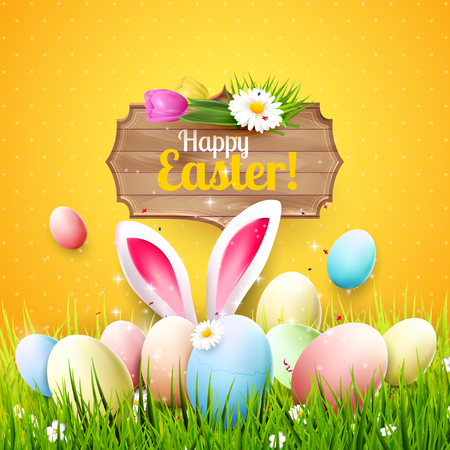 egg: Easter greeting card with colorful eggs, bunny ears and wooden sign on orange background