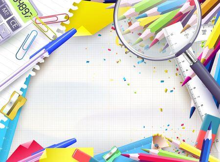 utiles escolares: Fondo de la escuela con los suministros en papel vacío