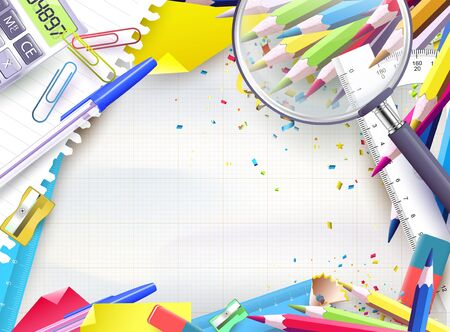 school supplies: School background with supplies on empty paper Illustration