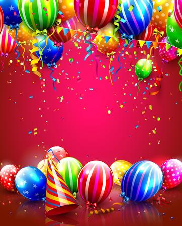 Verjaardag poster met kleurrijke ballonnen, confetti en partij hoed
