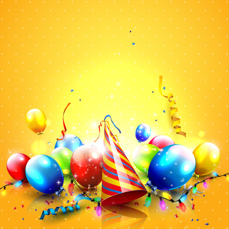 congratulation: Colorful party background with balloons and party hat on orange background