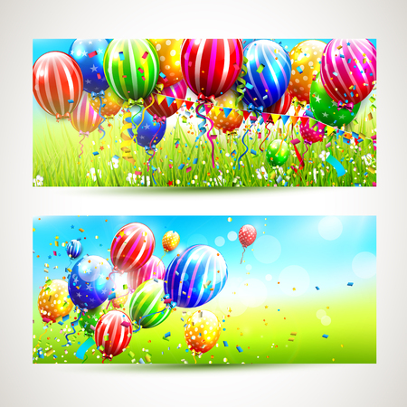 birthday wishes: Vector set of two colorful birthday banners with balloons and confetti flying in sunny landscape