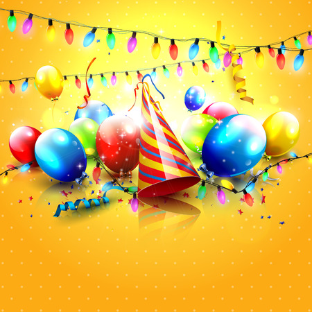 welcoming party: Colorful party background with balloons and party hat on orange background