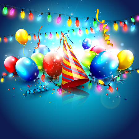 blue party: Colorful party background with balloons and party hat on blue background