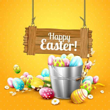 wooden bucket: Easter greeting card with flowers and colorful eggs in the bucket and wooden sign on orange background